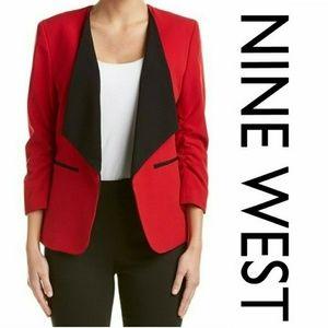NWT Nine West Collarless Red and Black Blazer